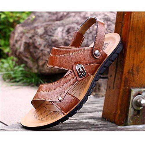 Männer Sandalen Männer Echtleder Das neue Strand Schuh Jugend Sommer Trend Schüler Sandalen Freizeit Schuh ,Gelb,US=8,UK=7.5,EU=41 1/3,CN=42