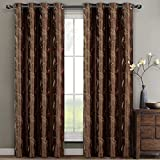 Royal Hotel Olivia Mocha Grommet Embroidered Lined Window Curtain Panels, Pair/Set of 2 Panels, 52x63 inches Each