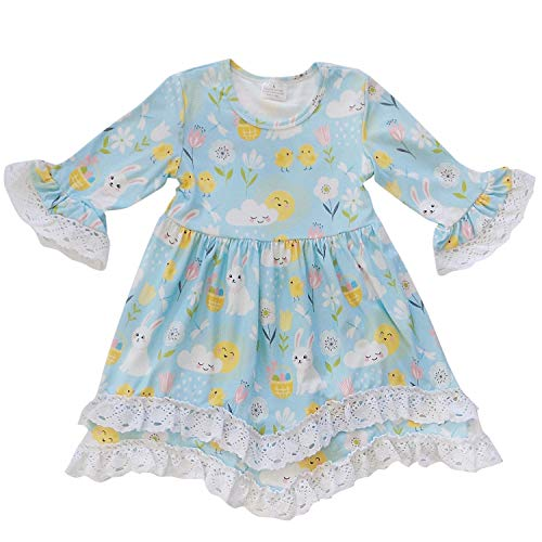 So Sydney Girls Toddler Baby Spring & Easter Romper, 2 Piece, or Boho Lace Ruffle Dress (2T (XS), Spring Day Bunny Boho Dress) -