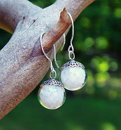 - Recycled Vintage White Milk Glass Cold Cream Jar Orb Earrings