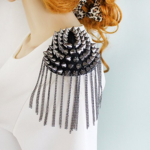 ion Element Spike Punk Style Tassels Brooch/shoulder Board with Free Jewelry Pouch ()
