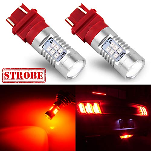 JDM ASTAR 2520 Lumens Extremely Bright PX Chips 3057 3157 4057 4157 Red Strobe Brake LED Bulbs
