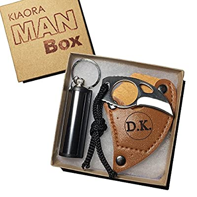 CUSTOM ENGRAVED KNIFE with Fire Starter. Most Awesome Gift for Men! Personalized Man Box
