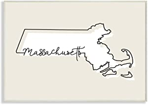 Stupell Industries Massachusetts Home State Map Neutral Print Design Wall Plaque, 12 x 18, Multi-Color