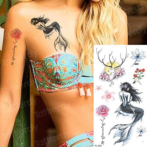tzxdbh Tatuaje de Peces Sirena Tatuajes temporales Personalizados ...