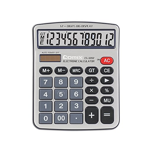 Comix Standard Function Desktop Calculator, Dual Powered, Large LCD Display, 12 Digits, CS-3282 by Comix