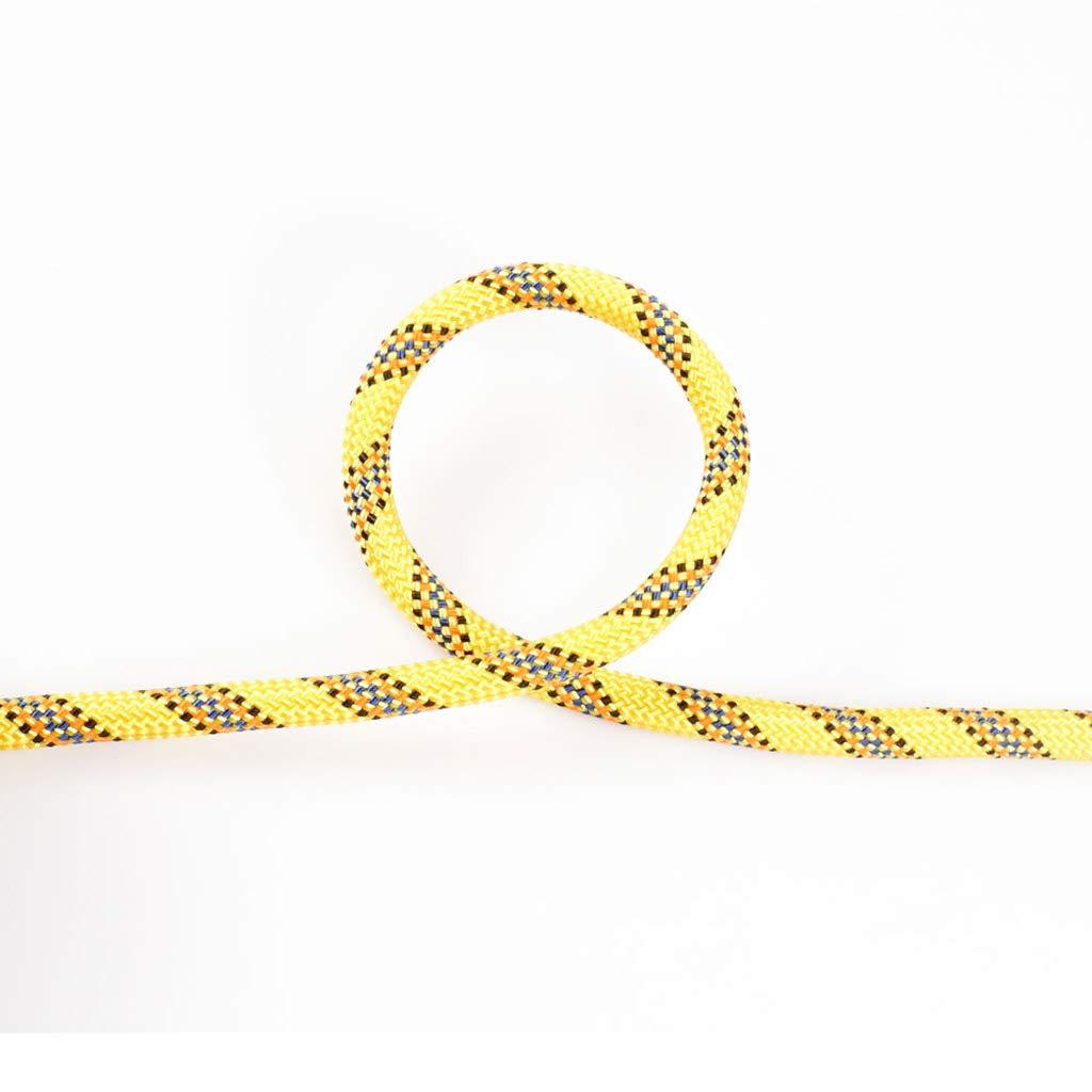 Jaune YYHSND Corde d'escalade Descente de Corde Diamètre de Corde d'escalade 8mm Corde d'alpinisme (Couleur   jaune, Taille   20M) 80M