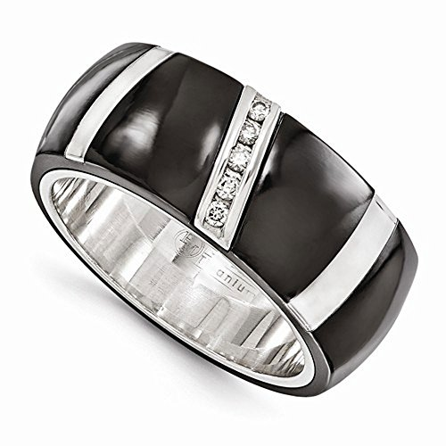 Edward Mirell Black Titanium and Sterling Silver Accent 0.10 ctw Diamonds 10mm Wedding Band - Size 13 by Edward Mirell