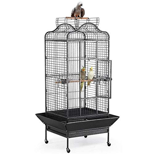 Yaheetech Wrought Iron Rolling Open Play Top Large Parrot Bird Cage for Mini Macaw Goffin Cockatoo Cockatiels African Grey Small Quaker Amazon Parrot Green Cheek Sun Conure Caique Bird Cage with Stand