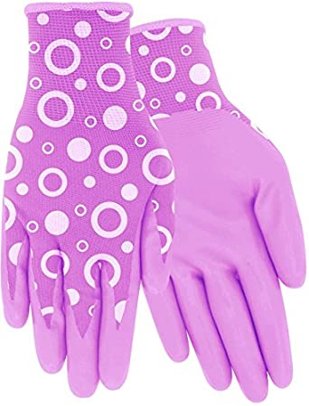 Bubbles Pattern Clear Coat Nitrile Palm Glove Set of 2 Pairs Purple or Pink Red Steer Womens A208-S Flowertouch Small, Purple