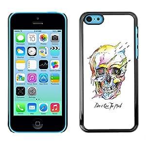 Shell-Star Arte & diseño plástico duro Fundas Cover Cubre Hard Case Cover para Apple iPhone 5C ( Watercolor Skull White Death Robot )