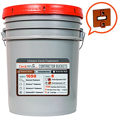 Deck Wise Ipe Clip - Extreme KD Fasteners - 1/4'' Spacing - BROWN CLIPS - for Kiln Dried Decking - 1050 pc Contractor Bucket for 600 Sq. Ft. of Decking - (Includes 8 x 2'' Stainless Steel Screws) by DeckWise