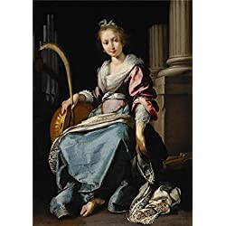 High Quality Polyster Canvas ,the Best Price Art Decorative Prints On Canvas Of Oil Painting 'Bernardo Strozzi,Saint Cecilia,1620-1625', 12x17 Inch / 30x43 Cm Is Best For Living Room Decoration And Home Gallery Art And Gifts