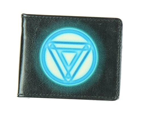 Men'sMarvel Avengers wallet Iron Man Arc Reactor Black/blue Glo, -Multi, One Size
