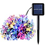 Solar String Light 200 LED 22 Meters Outdoor Waterproof Solar Patio Lights Peach Blossom Decorative for Christmas Tree Garden Home Lawn Wedding New Year Party Holiday Decorations (colorful light)