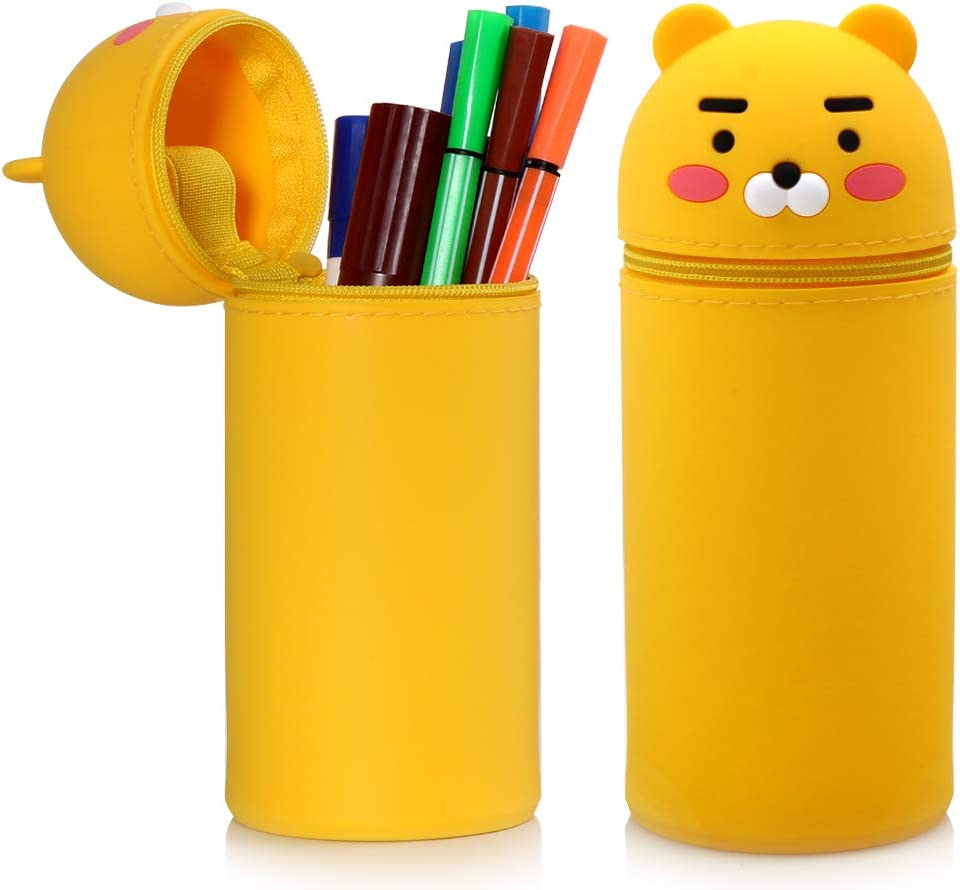 Cartoon Cute Pencil Case, Stand Up Pencil Case for Kids, Stand Up Retractable Silicone Pencil Bag, Suitable for Office, Home and School Use