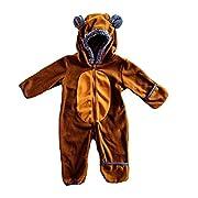 Funzies Baby Bunting Fleece Hooded Romper Bodysuit (BearBrown/Tan3-6m)
