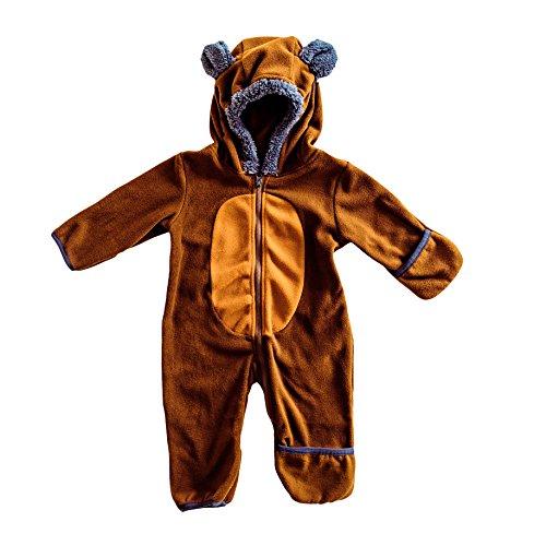 Funzies Baby Bunting Fleece Hooded Romper Bodysuit  3 6 Month  Brown Tan