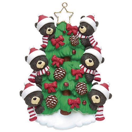 Ornaments Personalized Grandparents - Personalized Bear Tree Family of 6 Christmas Ornament 2019 - Cute Parent Child Friend Santa Hat Garnish Cone Black Tradition Gift Year Winter Eve Holiday Sibling Kid - Free Customization (Six)