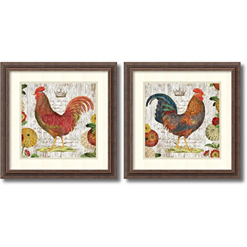 Framed Art Print, 'Rooster, rustic frame- set of 2' by Suzanne Nicoll: Outer Size 19 x 19