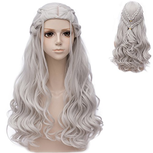 Probeauty 2017 New Long Braid Curly Women Cosplay Wigs for Daenerys Targaryen khaleesi+Wig Cap (Silver Curly Braid B)