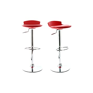 Miliboo Lot De 2 Tabourets De Bar Design Rouge Nova Amazonfr