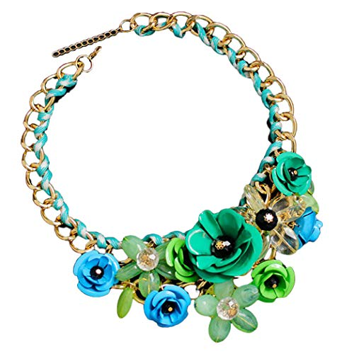 - DZT1968 Women Mixed Style Chain Crystal Colorful Flower Luxury Weave Necklace (Green)