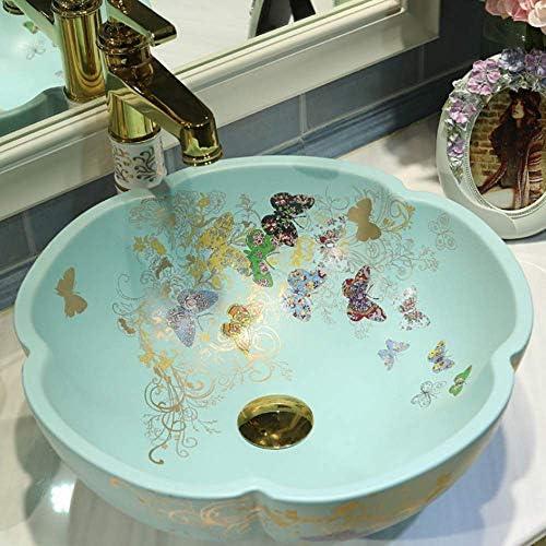 Yadianna 中国芸術手作りの蝶セラミックフラワーカウンターのハンドメイドセラミック小さな洗面台のバスルームシンク42センチメートル