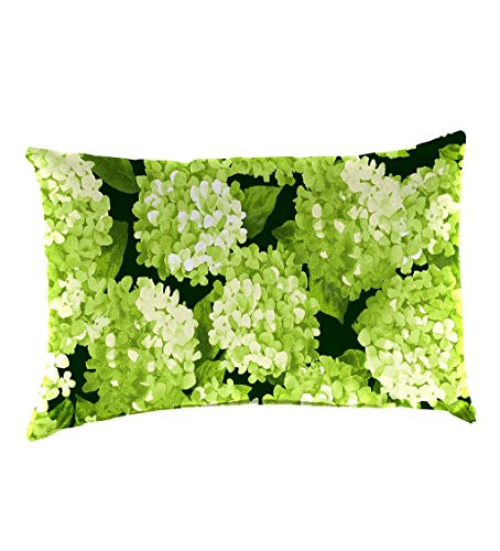 Classic Polyester Decorative Outdoor Lumbar Throw Pillow, 19'' x 12'' x 5.5'' - Forest Hydrangea