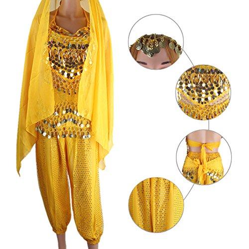 Jaune SymbolLife grand danse Bandage tete en pendante et court Haut des Pantalon mousseline foulard Avec Pad soie de Monnaies Le ceinture ventre de Bells Chest indienne Lady qwvEqFUI