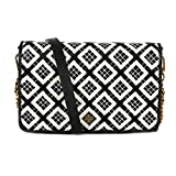 Tory Burch Robinson Woven Leather Chain Wallet, Black Ivory, One Size