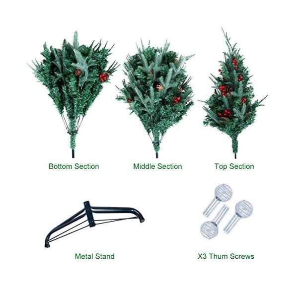 Kranich 1,5 m Albero di Natale da con pigne e Bacche Rosse, Montaggio rapido incl. Supporto per Albero di Natale, Decorazioni Natalizie 7 spesavip