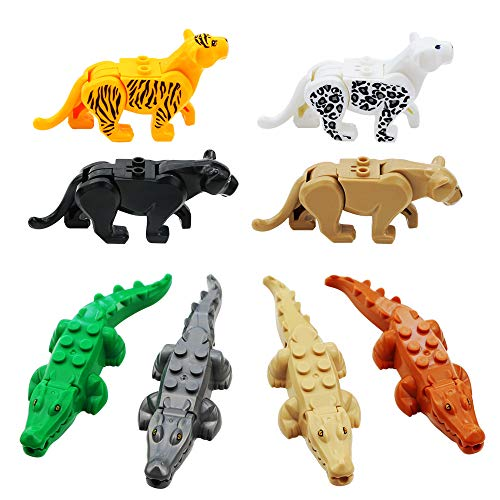 Nexxxi 4 Different Crocodile Toy Models and 4 Different Leopard Toy Models Tigers Figurines For Kids