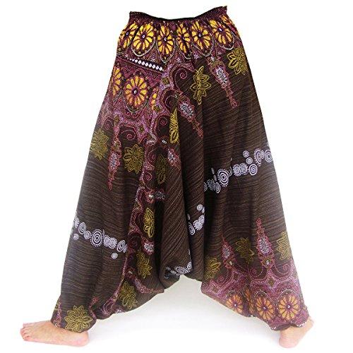 Haremshose, Pumphose, Hmong Style, Handarbeit aus reiner Baumwolle, braun