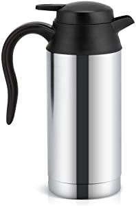 Filfeel 750ml Travel Car Kettle, Heater Bottle Pot for Camping Boat Lorry Truck Cigarette Lighter Heating Kettle Electric Mug Thermos Stainless Steel Drinking Cup 12V