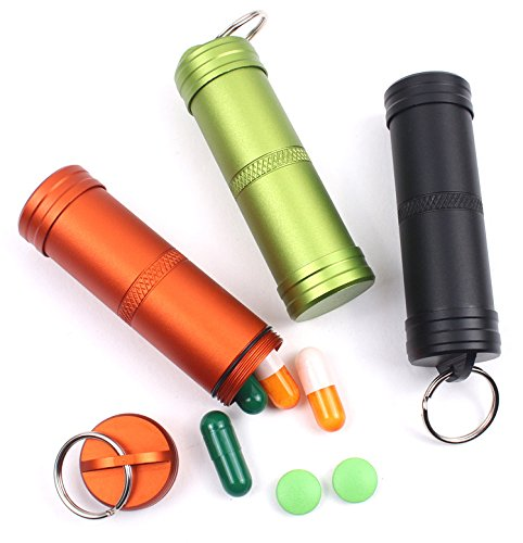 PPFISH Military Grade Air-Tight EDC Accessory Case, Waterproof Pill Fob Capsule/Match Case Battery Holder Case, Outdoor Survival Storage Container Dry Box (Pack of 3) ()