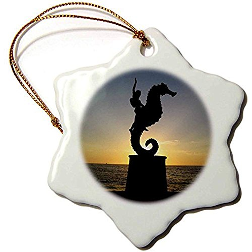 Puerto Vallarta Malecon Boy On Seahorse Statue Silhouetted Against Sunset Snowflake Porcelain Hanging Ornament, ()