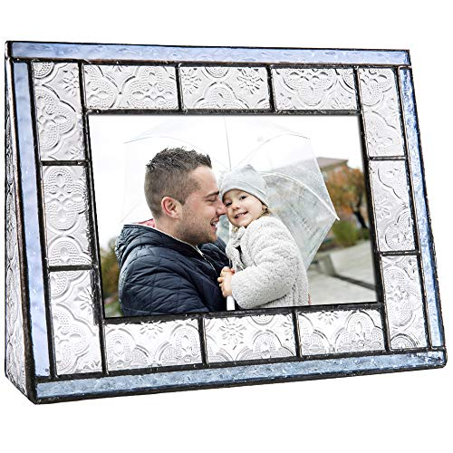 - J Devlin Pic 159-46H Blue Glass Picture Frame Tabletop 4x6 Horizontal Photo Clear Vintage and Pale Blue