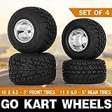 Snow Shop Everything Will fit on Most Go Kart/Huffy Slider/Drift Trike/Buggy/Project Go Kart Wheels Go Kart Rain Tires Set of 4 Rim & Tyre Durable 10X4.50-5 11x6.0-5