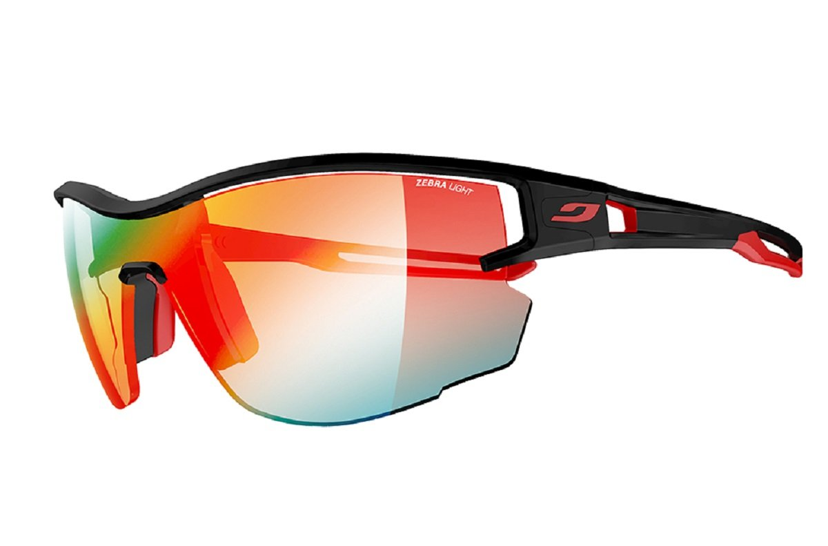 Julbo Aero Sunglasses, Black/Red with Zebra Light Lenses