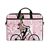 LIUBT Pink Fairy Girl Butterfly Bicycle Laptop Shoulder Messenger Bag Computer Briefcase Business Notebook Sleeve Cover Carrying Handle Bag for 14 inch to 15.6 inch