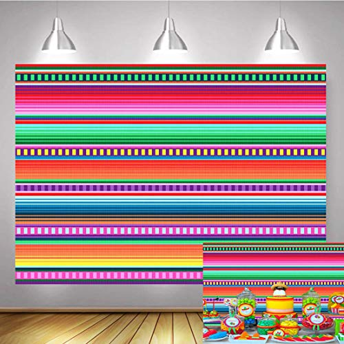 TJ 7x5FT Color Stripe Photography Backdrops Cinco De Mayo Mexican Fiesta Theme Party Photo Background Birthday Wedding Decor Banner Photo Booth ()