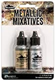 Ranger Adirondack Alcohol Ink Metallic Mixatives 1/2-Ounce 2/Pkg, Gold and Silver