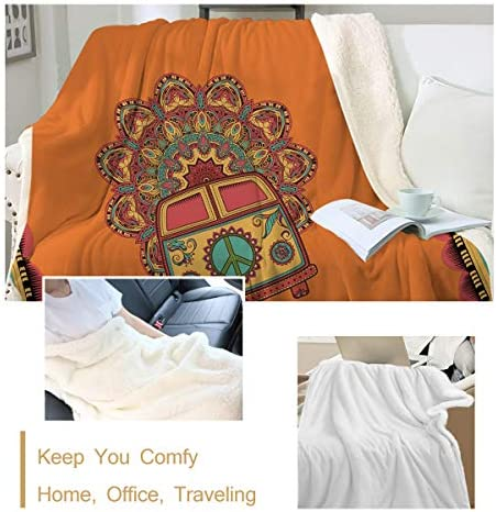 Hippie Bus Peace Quilt Fleece Blanket