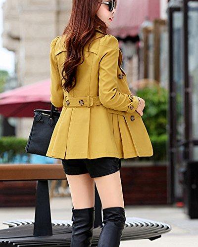 DianShao Solapa Breasted Larga Amarillo Elegante Double Gabardina Casual Mujer Abrigos SxqIrS