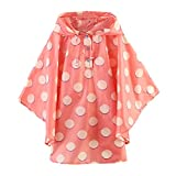 M2C Girls Patterned Hooded Lightweight Waterproof Rain Poncho Polka Dots