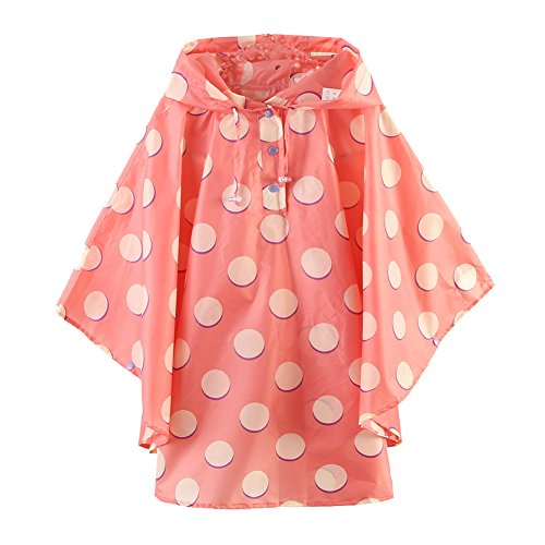 M2C Girls Patterned Hooded Lightweight Waterproof Rain Poncho Polka Dots (Patterned Raincoat)