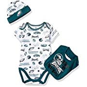 Gerber Childrenswear NFL Philadelphia Eagles Boys 2018Bodysuit Cap & Bib Set, Green, 0-3 Months