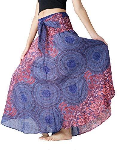 Bangkokpants Women's Long Hippie Bohemian Skirt Gypsy Dress Boho Clothes Flowers One Size Fits (Blue, One Size)