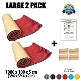 Egg Crate Foam Sheets Dragon Dash 2 Packs of 10 Meter (394 X 39.4 X 2 Inches) Red Acoustic Soundproofing Adhesive-Backed Egg Crate Roll Sheet Foam Studio Treatment Wall Panel Tiles DD1131 (RED)